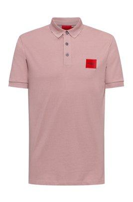 Poloshirt aus Baumwoll-Piqué mit Logo-Aufnäher, Hellrosa