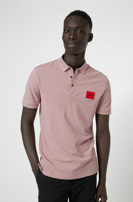 Slim-fit cotton-piqué polo shirt with logo patch, light pink