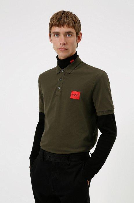 Polo Slim Fit en piqué de coton avec patch logo, Vert sombre
