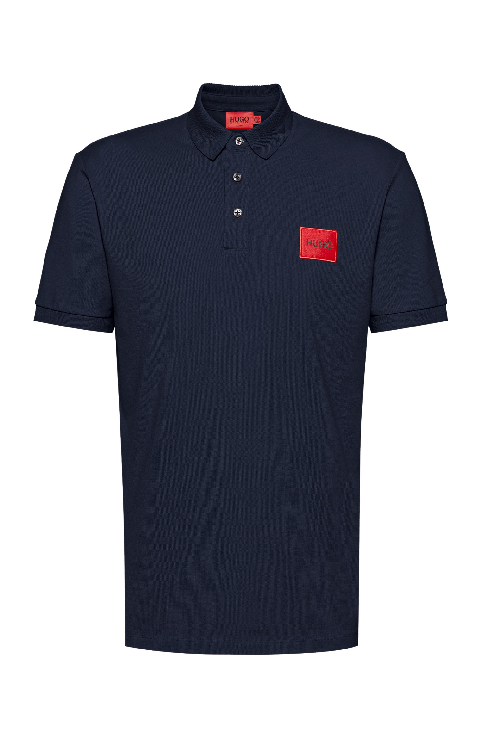 Slim-fit cotton-piqué polo shirt with logo patch, Dark Blue