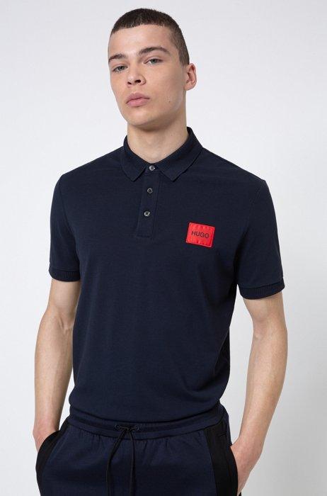 Polo slim fit in piqué di cotone con toppa con logo, Blu scuro