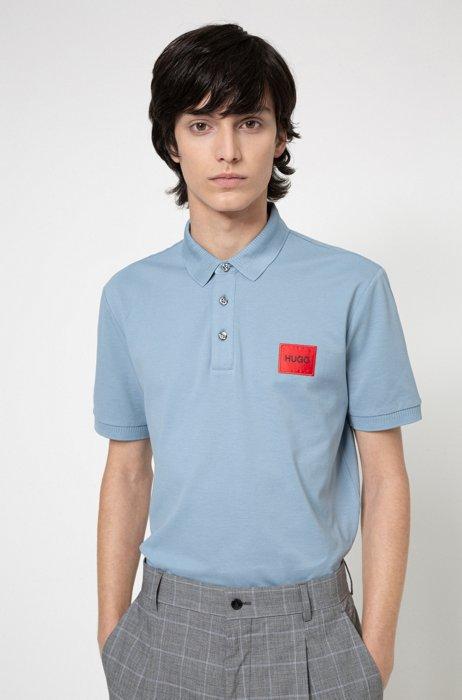 Slim-fit cotton-piqué polo shirt with logo patch, Blue