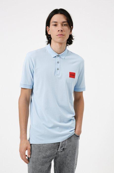 Polo Slim Fit en piqué de coton avec patch logo, bleu clair