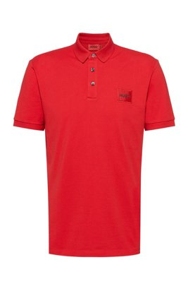 Slim-fit cotton-piqué polo shirt with logo patch, Red