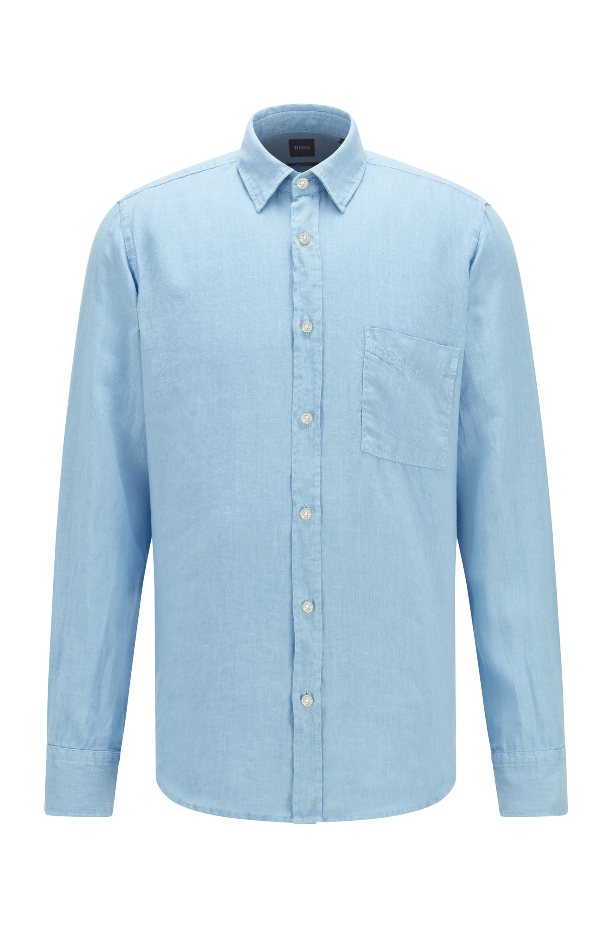 Regular-Fit Hemd aus reinem Leinen mit Logo-Fähnchen, Hellblau