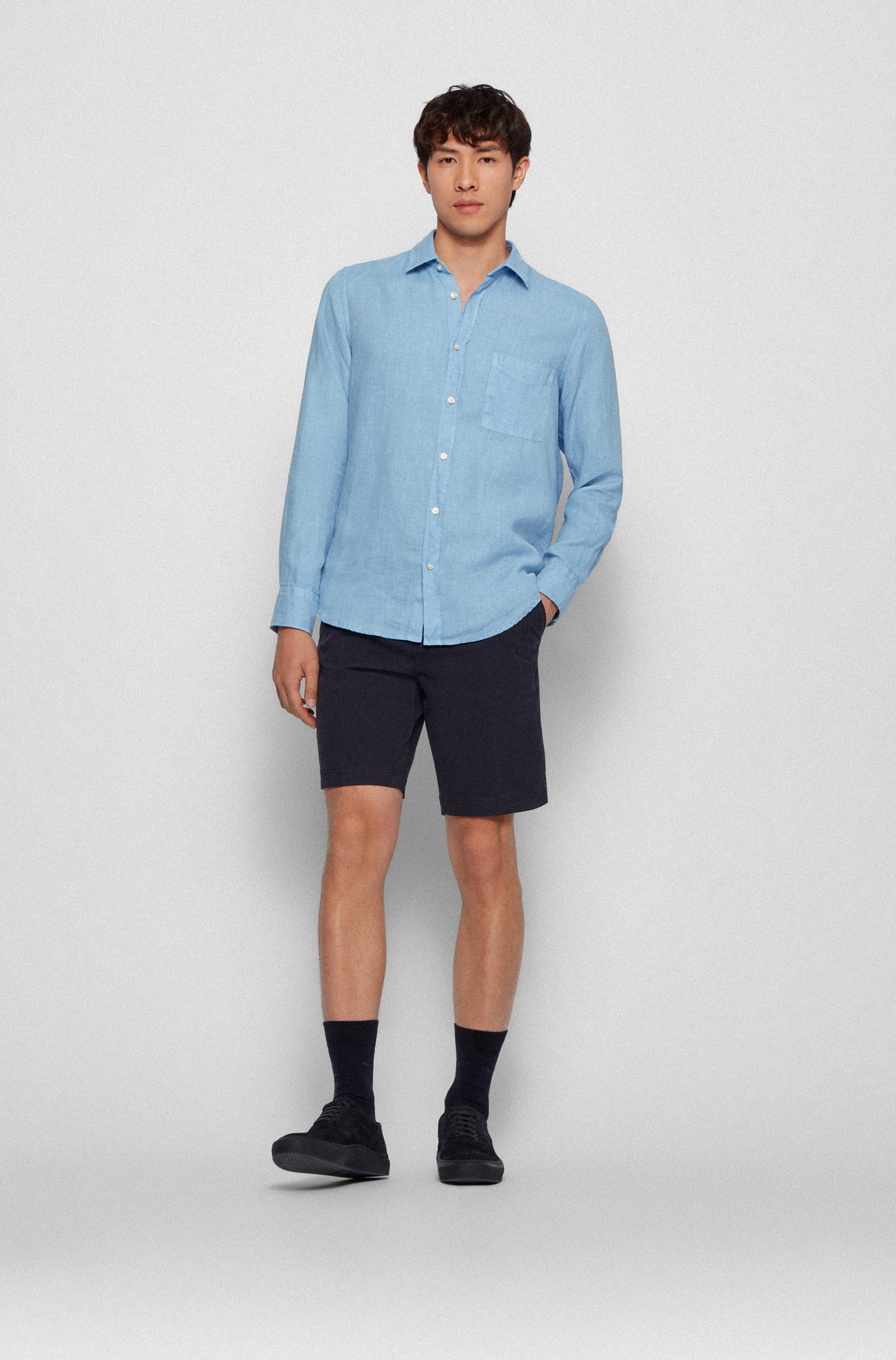 Regular-Fit Hemd aus reinem Leinen mit Logo-Fähnchen
