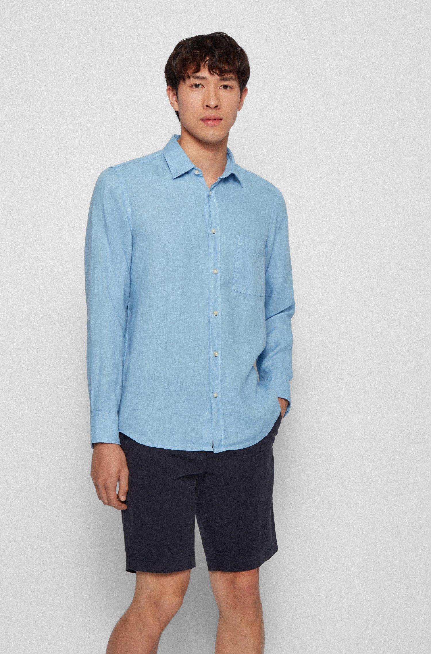 Chemise Regular Fit en pur lin avec étiquette logo, bleu clair