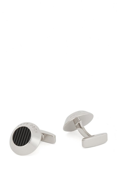Conical brass cufflinks with patterned enamel insert, Black