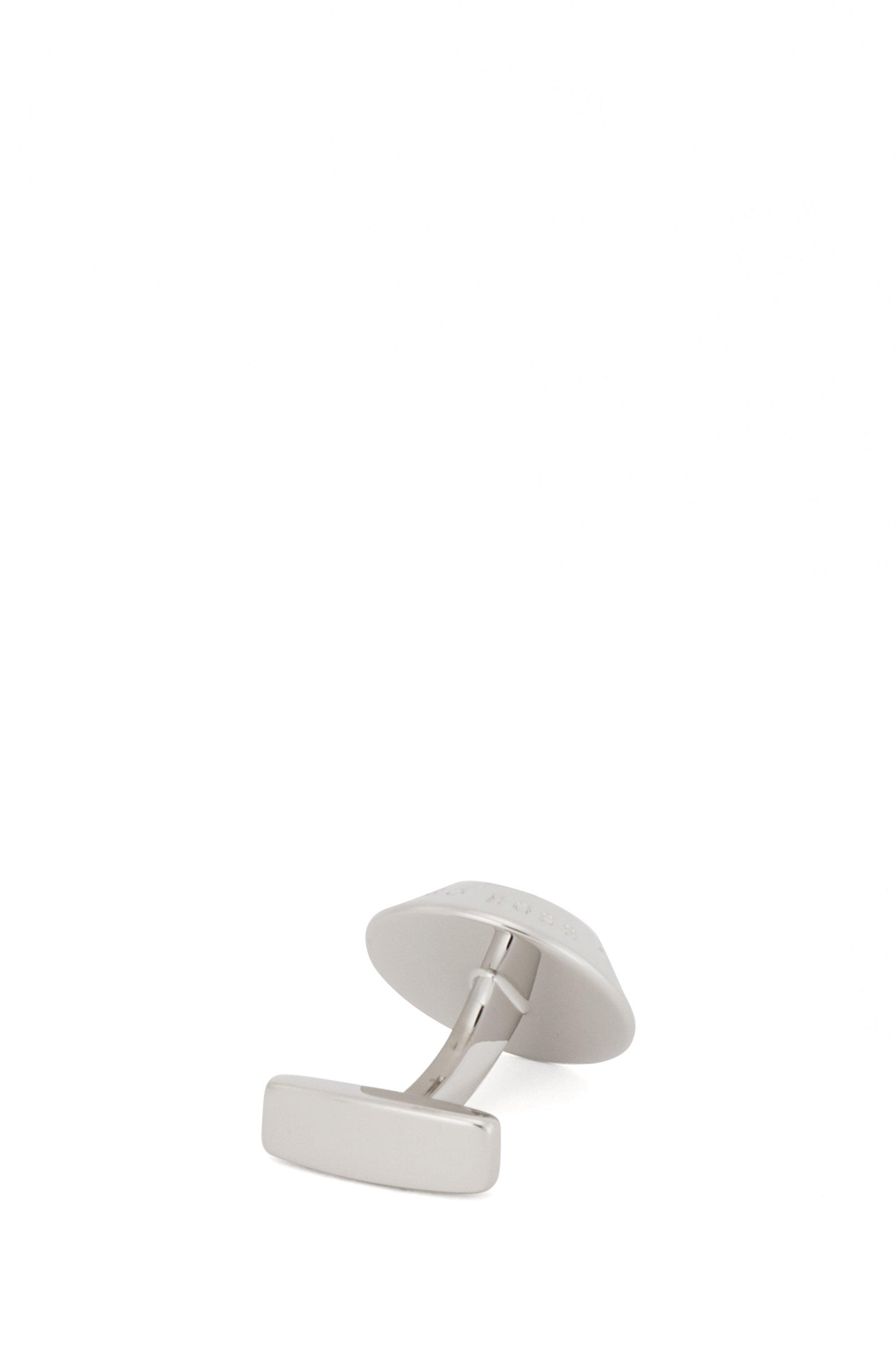 Conical brass cufflinks with patterned enamel insert