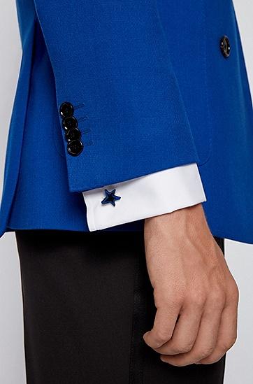 镀黑黄铜星形袖扣,  463_淡蓝色