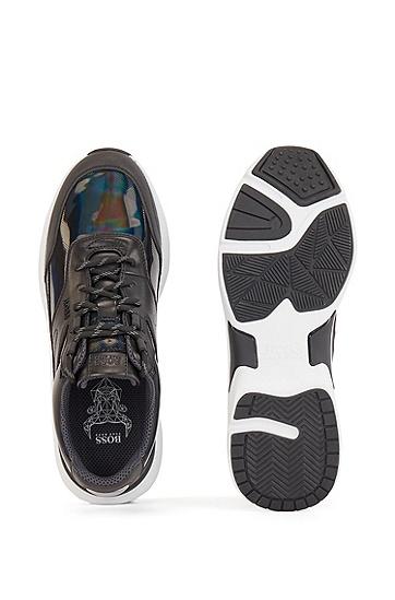 饰以品牌气泡的混合材料运动鞋,  960_多色