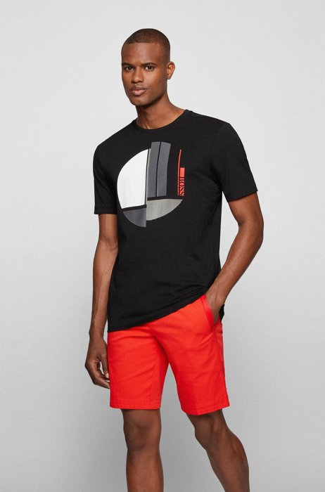 Crew-neck T-shirt in pure cotton with graphic artwork, Black