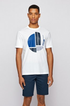 Crew-neck T-shirt in pure cotton with graphic artwork, White