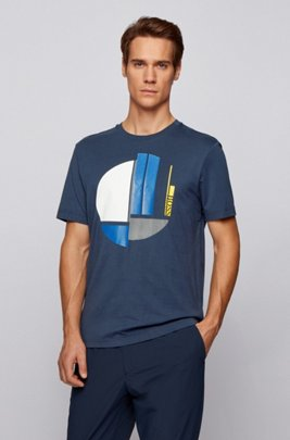 Crew-neck T-shirt in pure cotton with graphic artwork, Dark Blue