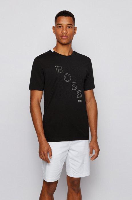 Regular-fit logo T-shirt in Bionic® single jersey, Black
