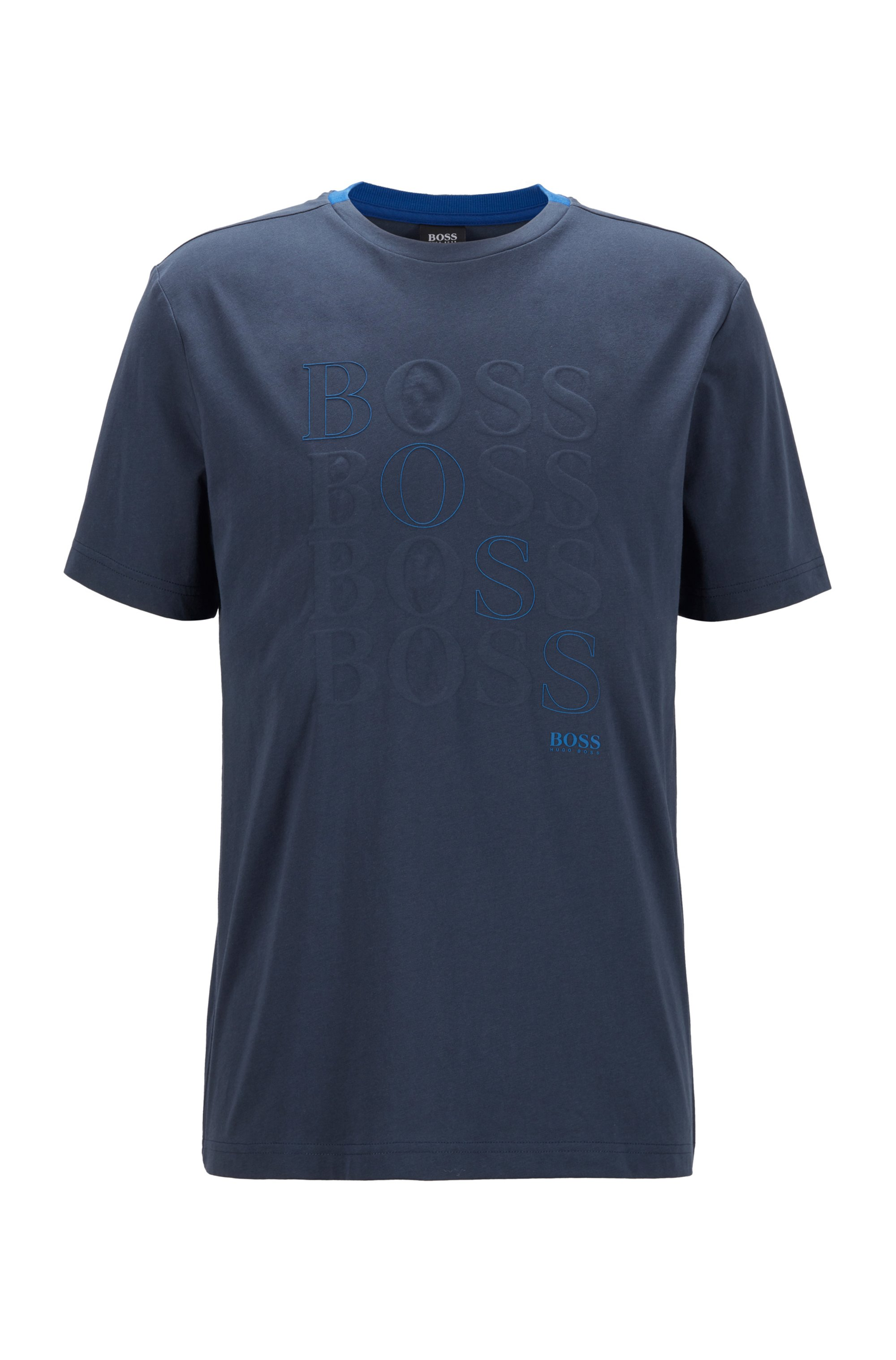 Regular-fit logo T-shirt in Bionic® single jersey, Dark Blue
