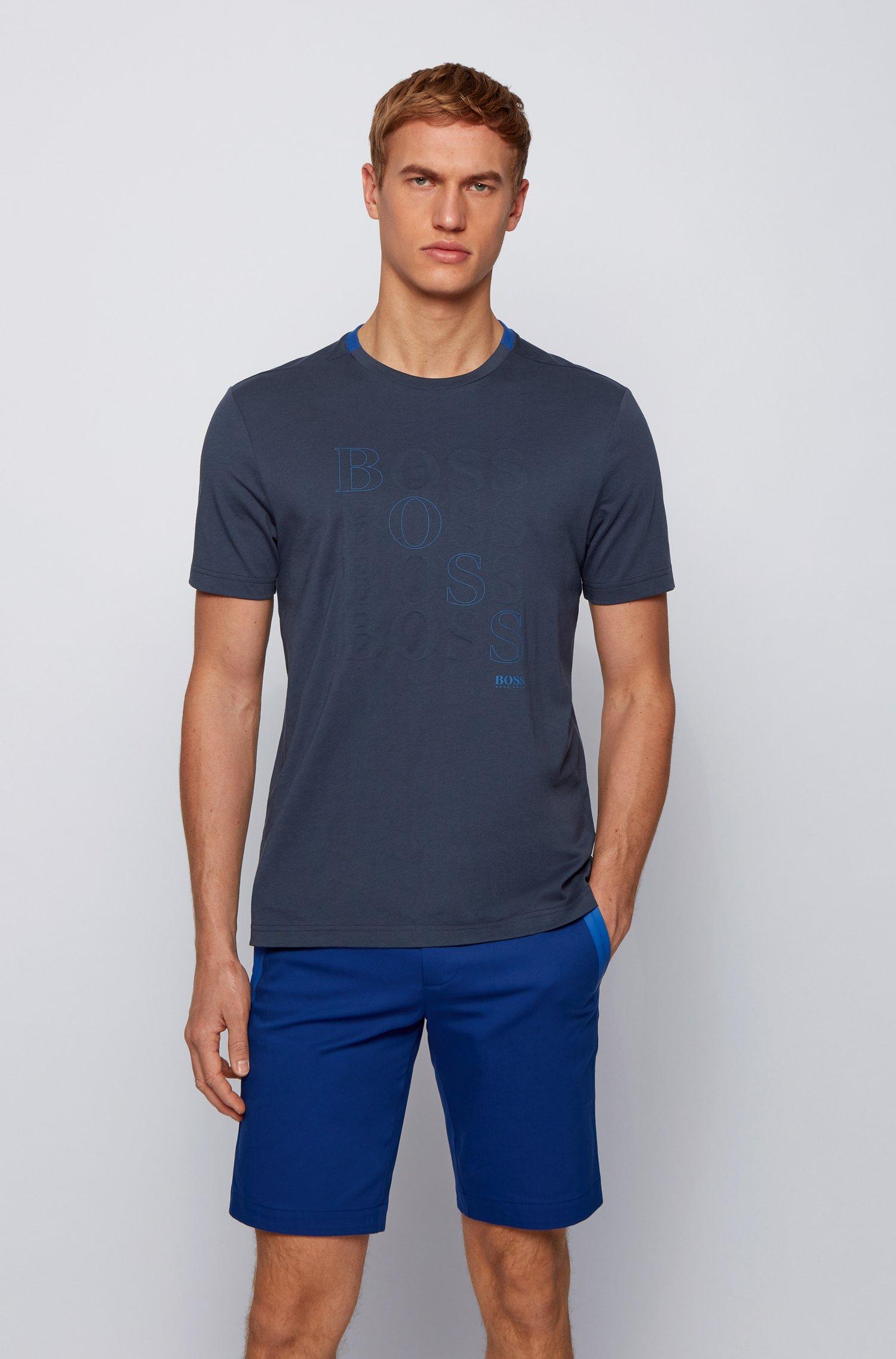 Regular-fit logo T-shirt in Bionic® single jersey, Dark Blue