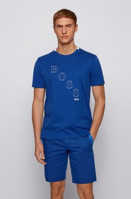 Regular-fit logo T-shirt in Bionic® single jersey, Blue