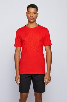 Regular-fit logo T-shirt in Bionic® single jersey, Red
