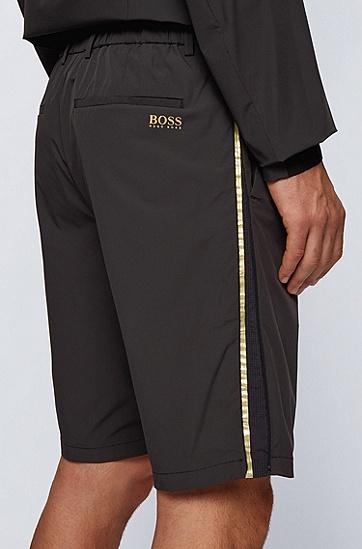弹力纯纺面料修身防水短裤,  001_黑色