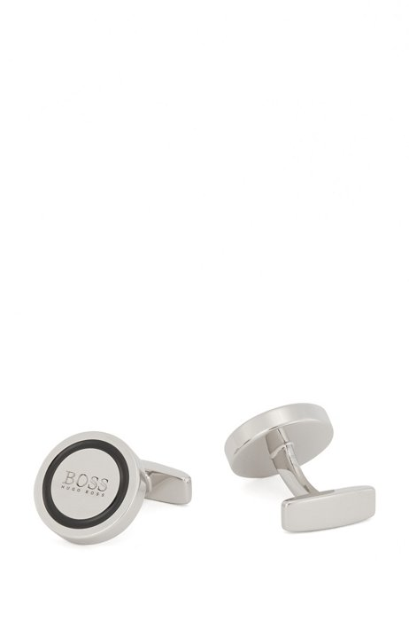 Round brass cufflinks with enamel ring and etched logo, Silver
