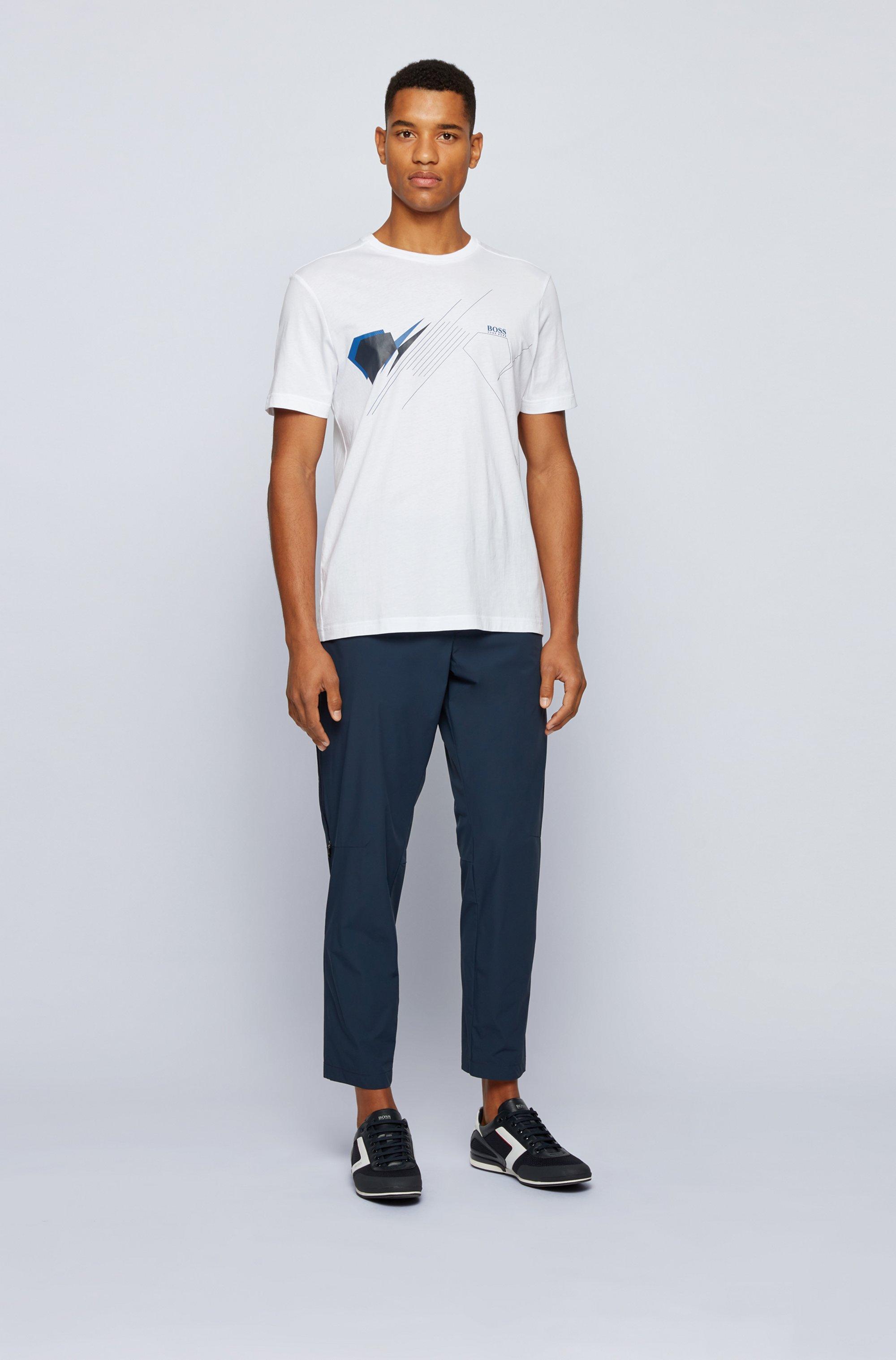 Cotton regular-fit T-shirt with geometric artwork
