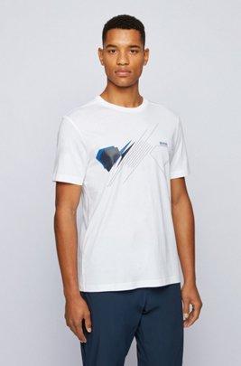 Cotton regular-fit T-shirt with geometric artwork, White