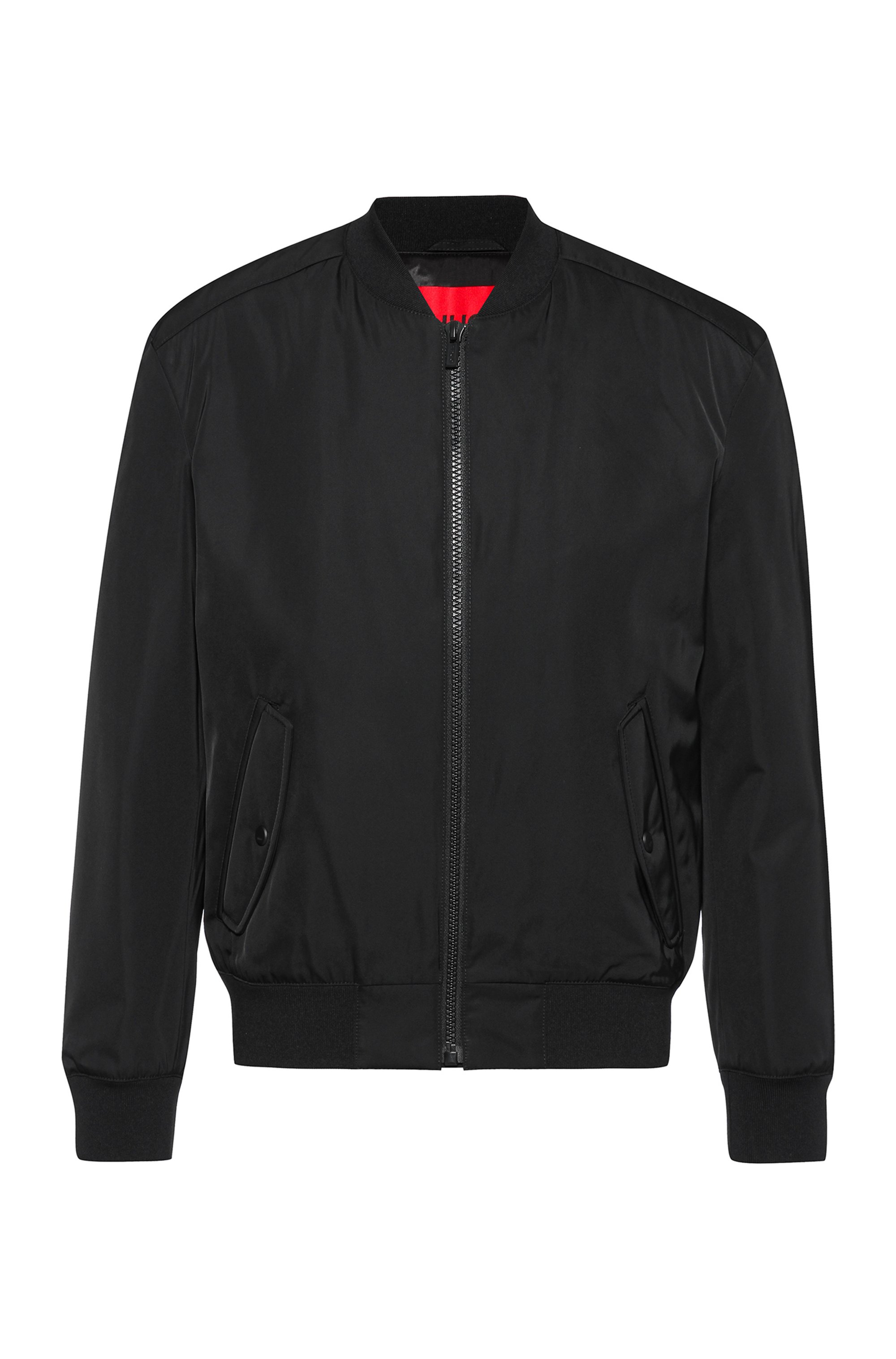 Regular-fit bomber jacket with red logo label, Black