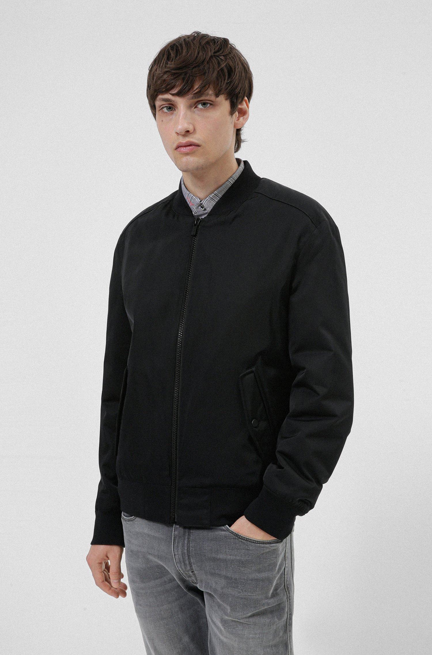 Regular-fit bomber jacket with red logo label, Black