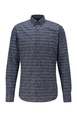 Patterned slim-fit shirt in stretch-cotton poplin, Blue Patterned