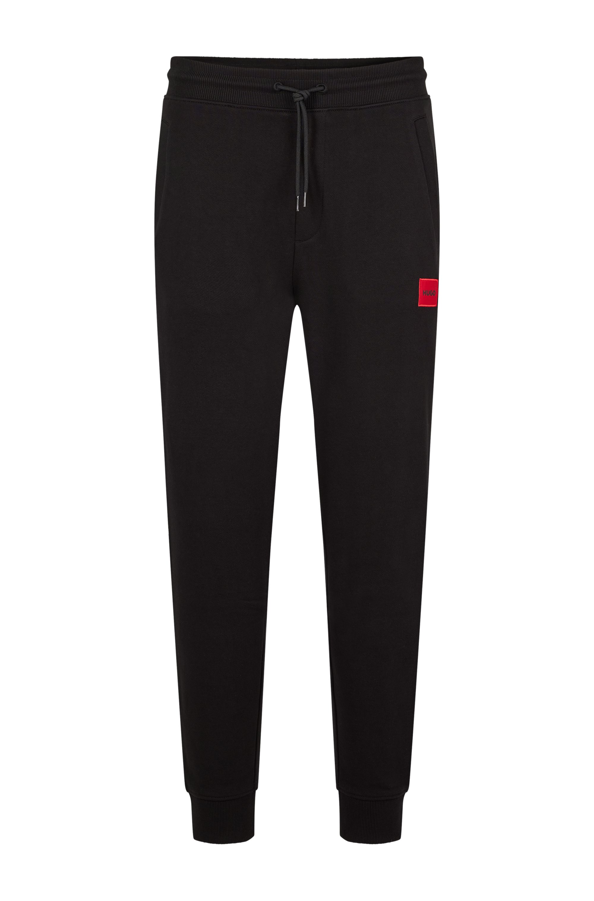 Jogginghose aus Baumwolle mit rotem Logo-Patch, Schwarz