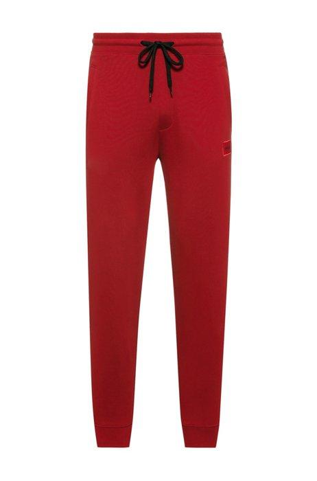 Trainingsbroek van katoen met rode logopatch, Rood