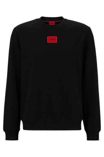 红色徽标标签棉质毛圈布运动衫,  001_Black