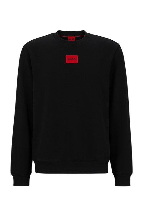 Sweater van katoenen sweatstof met rood logolabel, Zwart