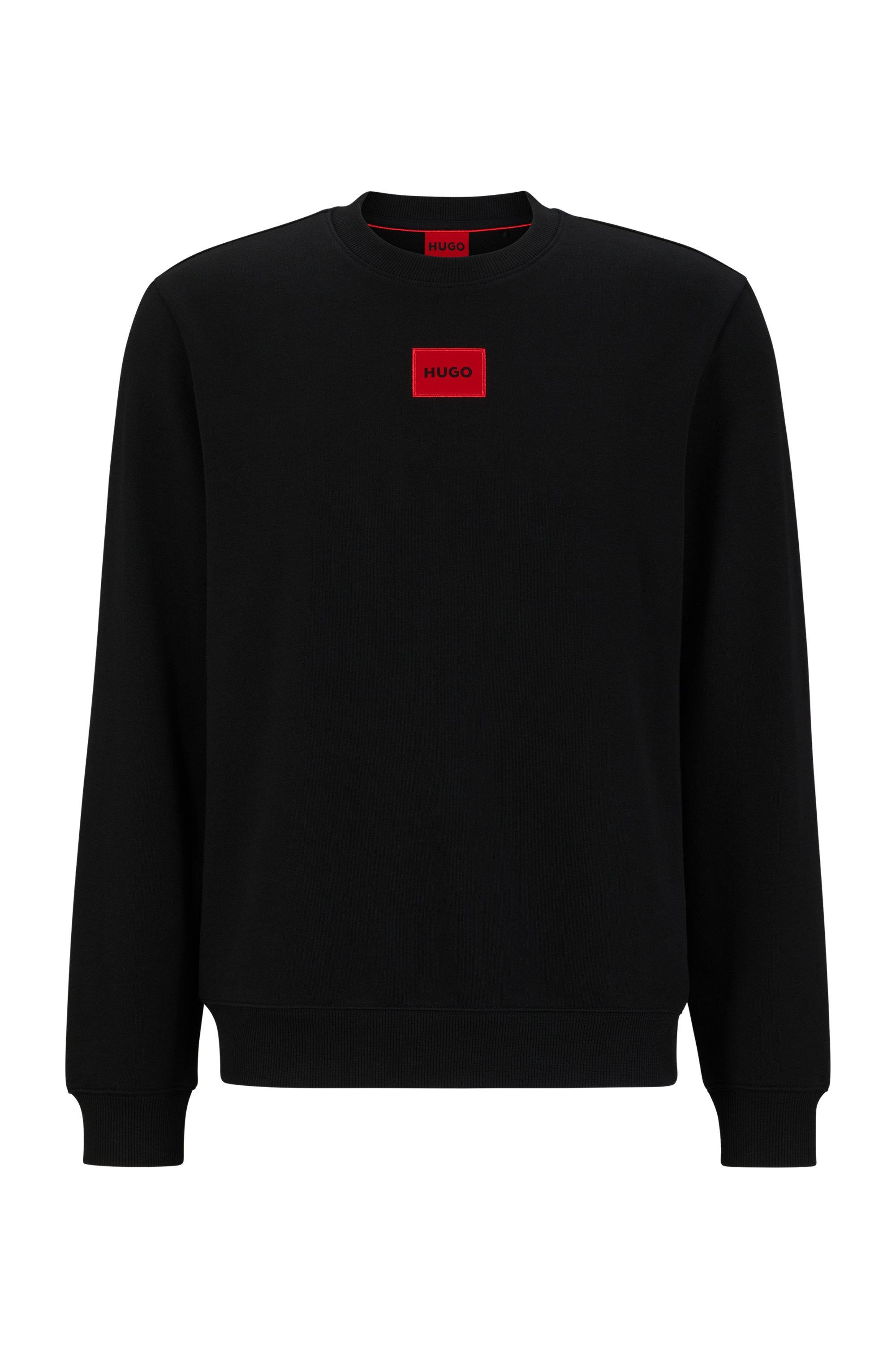 Sweat en molleton de coton avec étiquette logo rouge, Noir