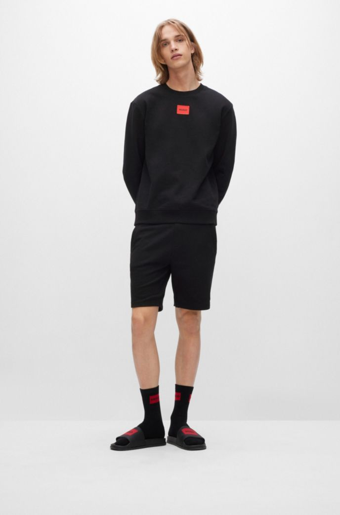 Cotton-terry sweatshirt with red logo label