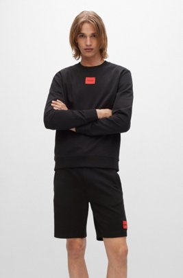 Cotton-terry sweatshirt with red logo label, Black