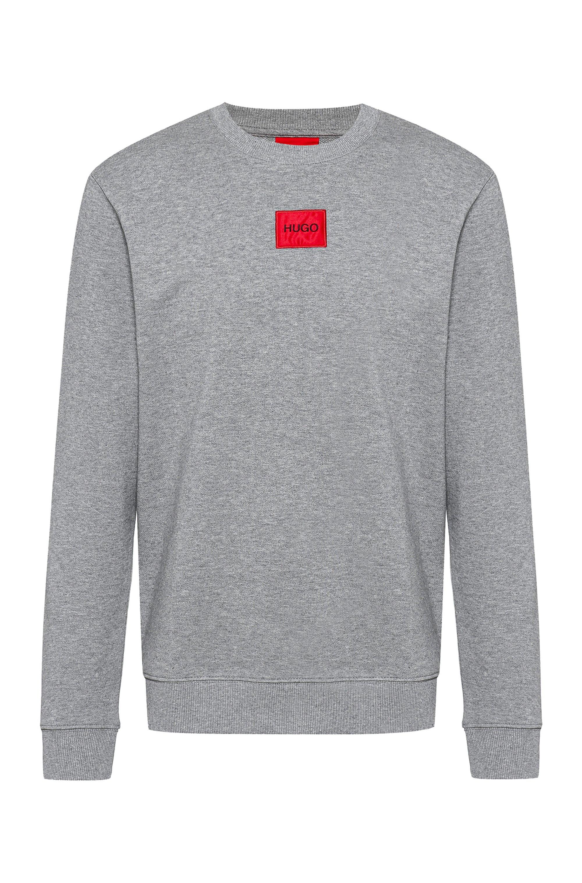 Sweat en molleton de coton avec étiquette logo rouge, Gris