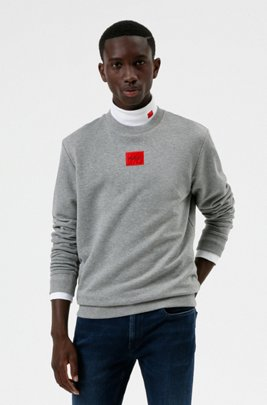 Cotton-terry sweatshirt with red logo label, Grey