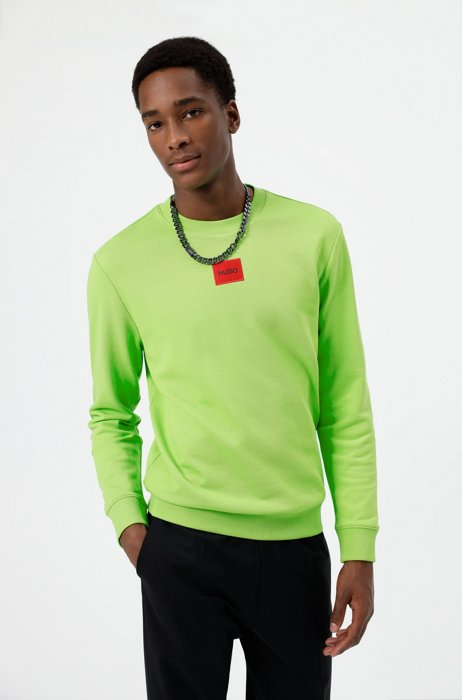 Cotton-terry sweatshirt with red logo label, Green