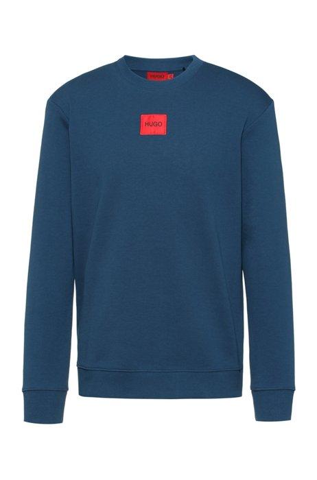Sweater van katoenen sweatstof met rood logolabel, Donkerblauw