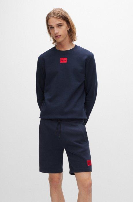 Cotton-terry sweatshirt with red logo label, Dark Blue