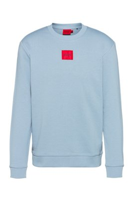 Cotton-terry sweatshirt with red logo label, Light Blue