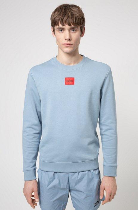 Sweatshirt aus Baumwoll-Terry mit rotem Logo-Etikett, Hellblau
