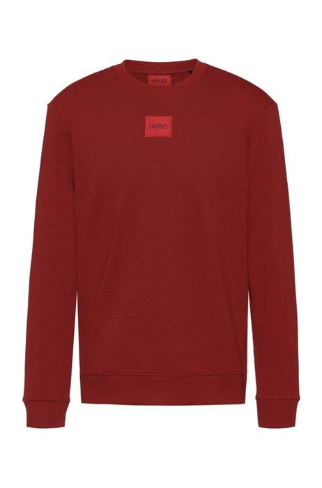 Sweater van katoenen sweatstof met rood logolabel, Rood