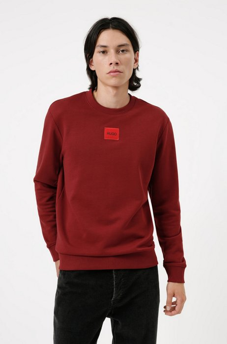 Sweat en molleton de coton avec étiquette logo rouge, Rouge