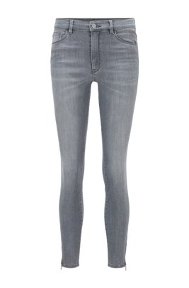 Skinny-fit jeans in grey power-stretch denim, Light Grey
