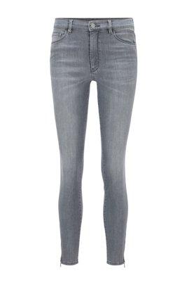 Jeans skinny fit in denim power stretch grigio, Grigio chiaro