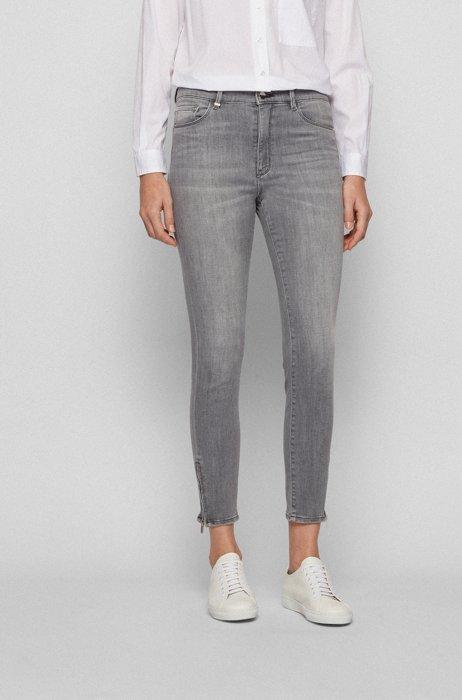 Skinny-fit jeans in grey power-stretch denim, Light Grey