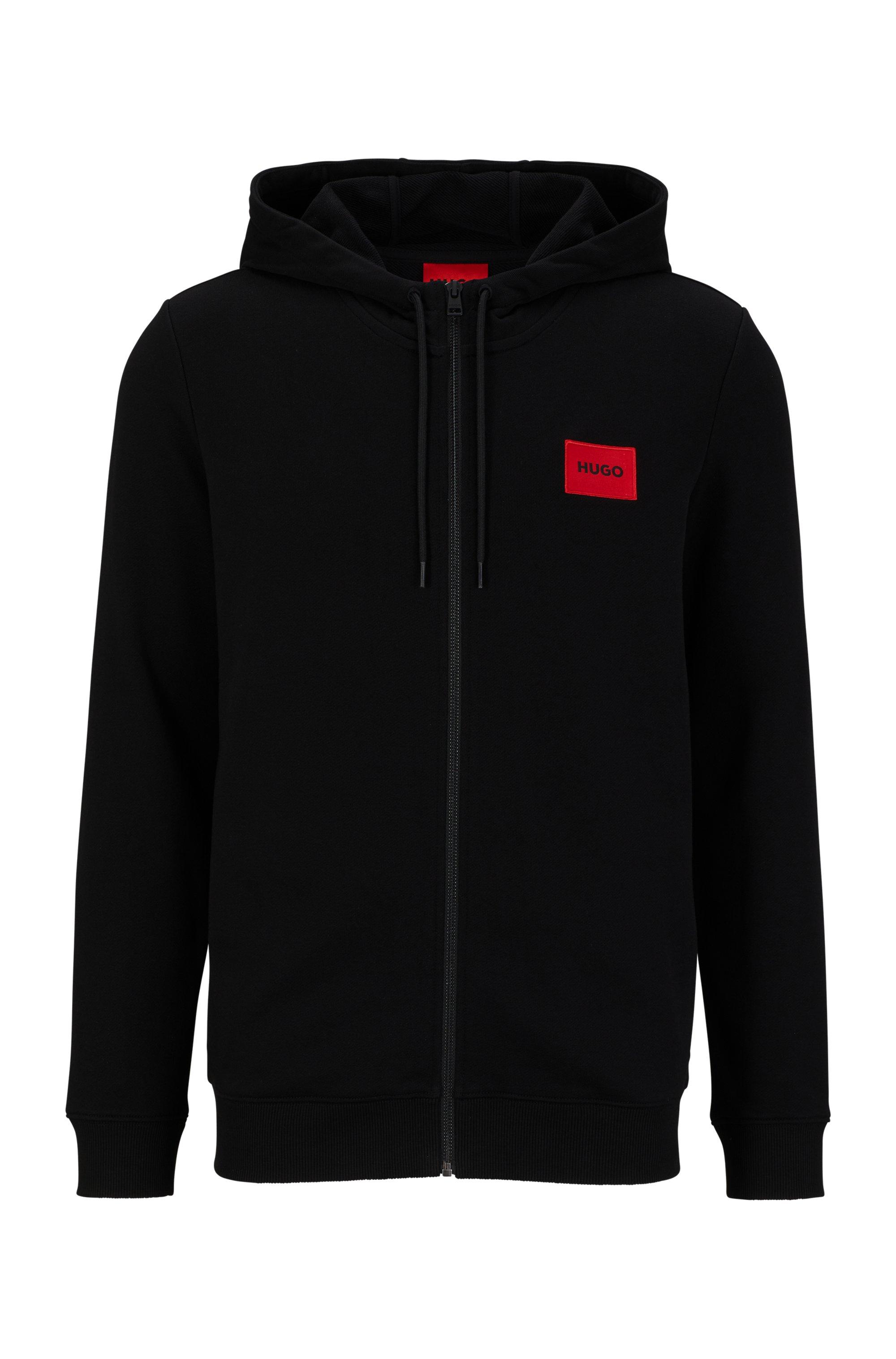Sweatshirt van katoenen sweatstof met ritssluiting en logopatch, Zwart